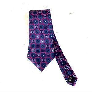 "JONES NEW YORK Blue/Pink Silk Tie -4""Wide"